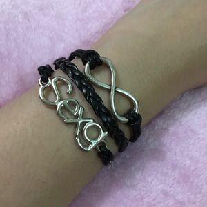 Infinity black leather bracelet